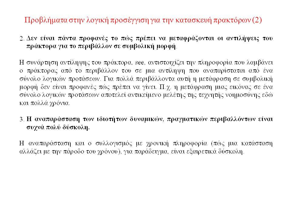 Προβλήματα στην λογική προσέγγιση για την κατασκευή πρακτόρων (2)