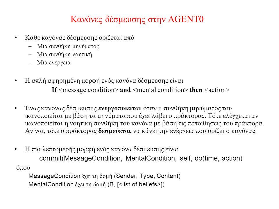 Κανόνες δέσμευσης στην AGENT0 Κάθε κανόνας δέσμευσης ορίζεται από –Μια συνθήκη μηνύματος –Μια συνθήκη νοητική –Μια ενέργεια Η απλή αφηρημένη μορφή ενός κανόνα δέσμευσης είναι If and then Ένας κανόνας δέσμευσης ενεργοποιείται όταν η συνθήκη μηνύματός του ικανοποιείται με βάση τα μηνύματα που έχει λάβει ο πράκτορας.