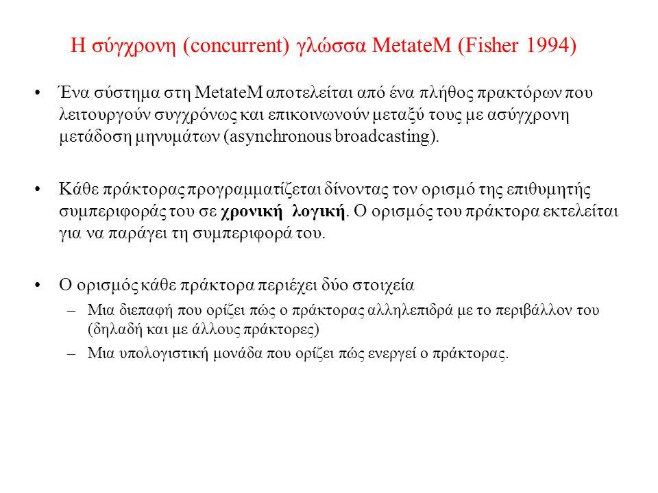 Η σύγχρονη (concurrent) γλώσσα MetateM (Fisher 1994) Ένα σύστημα στη MetateM αποτελείται από ένα πλήθος πρακτόρων που λειτουργούν συγχρόνως και επικοινωνούν μεταξύ τους με ασύγχρονη μετάδοση μηνυμάτων (asynchronous broadcasting).