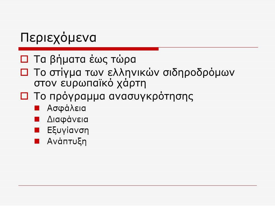 Περιεχόμενα  Τα βήματα έως τώρα  Το στίγμα των ελληνικών σιδηροδρόμων στον ευρωπαϊκό χάρτη  Το πρόγραμμα ανασυγκρότησης Ασφάλεια Διαφάνεια Εξυγίανση Ανάπτυξη
