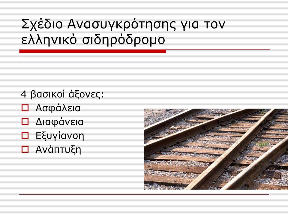 Σχέδιο Ανασυγκρότησης για τον ελληνικό σιδηρόδρομο 4 βασικοί άξονες:  Ασφάλεια  Διαφάνεια  Εξυγίανση  Ανάπτυξη