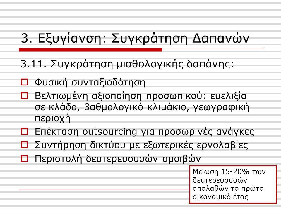 3. Εξυγίανση: Συγκράτηση Δαπανών 3.11.