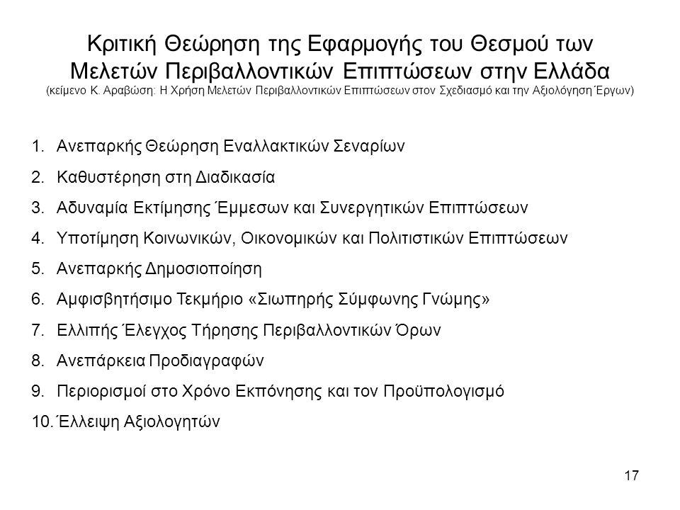17 Κριτική Θεώρηση της Εφαρμογής του Θεσμού των Μελετών Περιβαλλοντικών Επιπτώσεων στην Ελλάδα (κείμενο Κ.