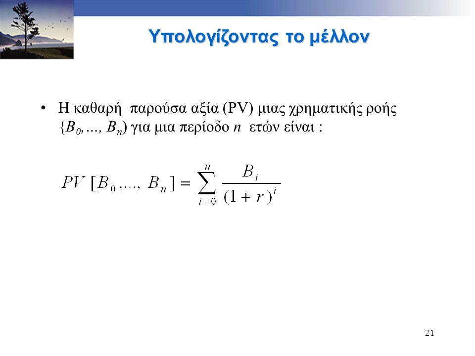 21 Υπολογίζοντας το μέλλον Η καθαρή παρούσα αξία (PV) μιας χρηματικής ροής {B 0,…, B n ) για μια περίοδο n ετών είναι :