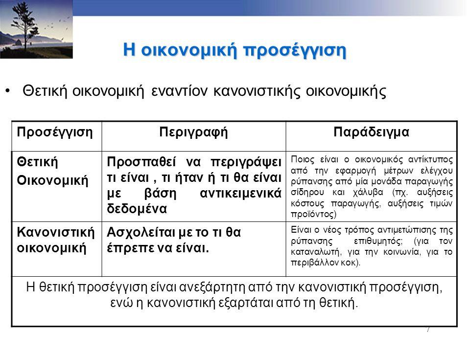 7 Η οικονομική προσέγγιση Θετική οικονομική εναντίον κανονιστικής οικονομικής ΠροσέγγισηΠεριγραφήΠαράδειγμα Θετική Οικονομική Προσπαθεί να περιγράψει τι είναι, τι ήταν ή τι θα είναι με βάση αντικειμενικά δεδομένα Ποιος είναι ο οικονομικός αντίκτυπος από την εφαρμογή μέτρων ελέγχου ρύπανσης από μία μονάδα παραγωγής σίδηρου και χάλυβα (πχ.