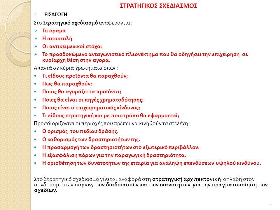 1. ΕΙΣΑΓΩΓΗ Στο Στρατηγικό σχεδιασμό αναφέρονται:  Το όραμα  Η αποστολή  Οι αντικειμενικοί στόχοι  Το προσδοκώμενο ανταγωνιστικό πλεονέκτημα που θ