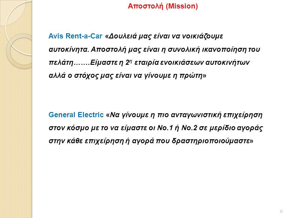 6 Αποστολή (Mission) Avis Rent-a-Car «Δουλειά μας είναι να νοικιάζουμε αυτοκίνητα.