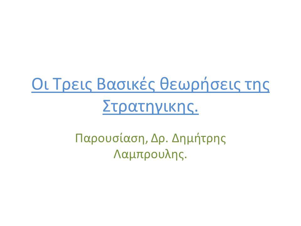 Οι Τρεις Βασικές θεωρήσεις της Στρατηγικης. Παρουσίαση, Δρ. Δημήτρης Λαμπρουλης.