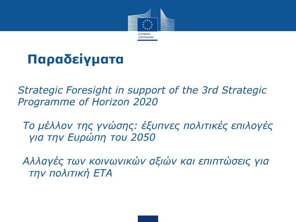 Παραδείγματα Strategic Foresight in support of the 3rd Strategic Programme of Horizon 2020 To μέλλον της γνώσης: έξυπνες πολιτικές επιλογές για την Ευρώπη του 2050 Αλλαγές των κοινωνικών αξιών και επιπτώσεις για την πολιτική ΕΤΑ