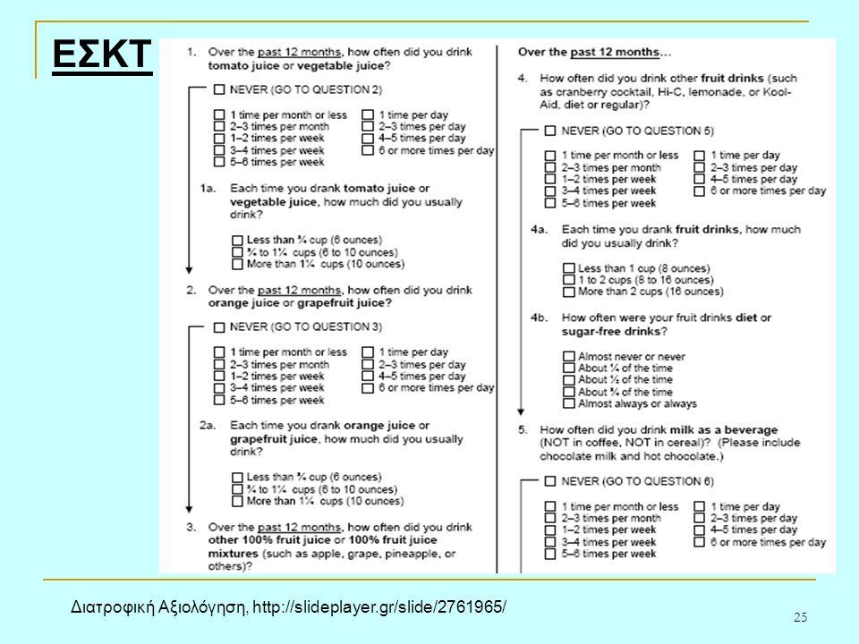 25 ΕΣΚΤ Διατροφική Αξιολόγηση, http://slideplayer.gr/slide/2761965/