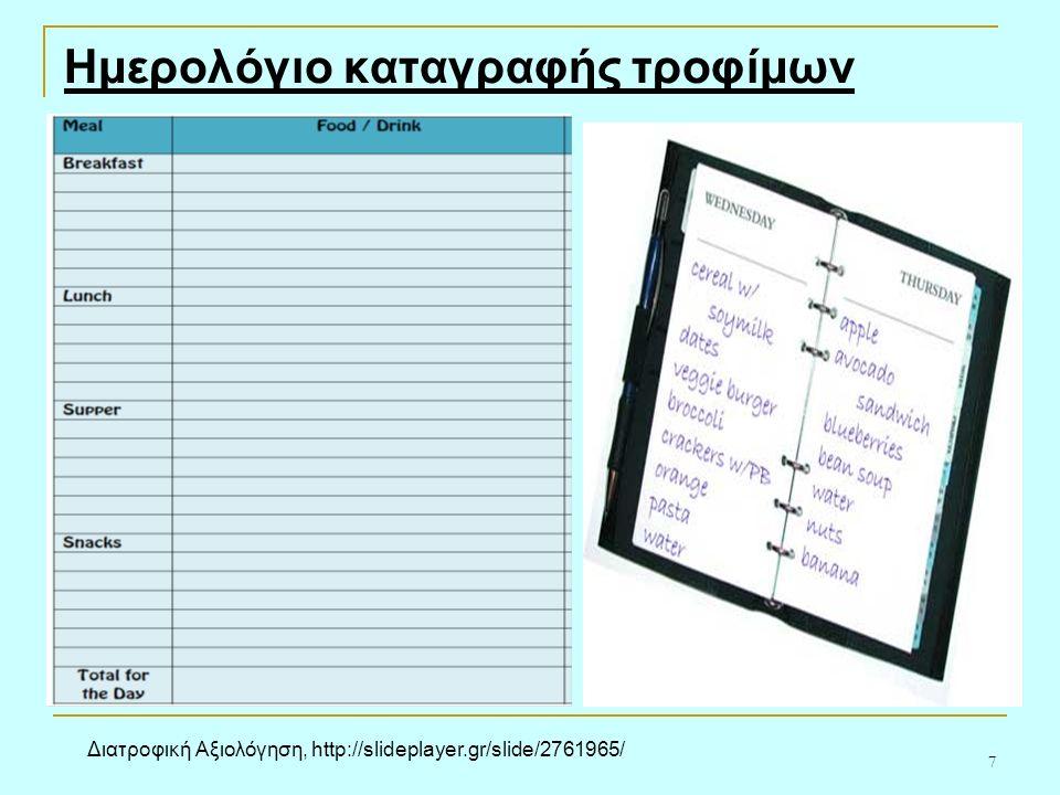 7 Ημερολόγιο καταγραφής τροφίμων Διατροφική Αξιολόγηση, http://slideplayer.gr/slide/2761965/