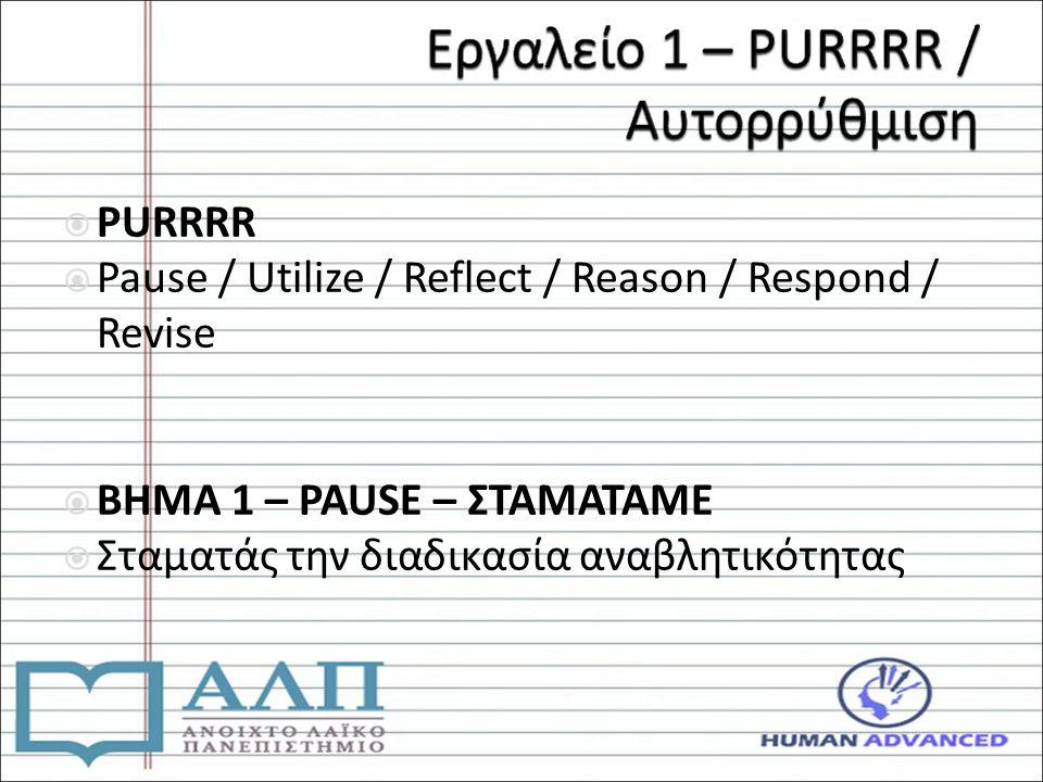  PURRRR  Pause / Utilize / Reflect / Reason / Respond / Revise  ΒΗΜΑ 1 – PAUSE – ΣΤΑΜΑΤΑΜΕ  Σταματάς την διαδικασία αναβλητικότητας