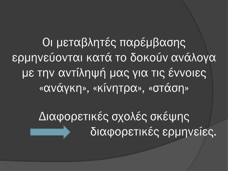 Οι μεταβλητές παρέμβασης ερμηνεύονται κατά το δοκούν ανάλογα με την αντίληψή μας για τις έννοιες «ανάγκη», «κίνητρα», «στάση» Διαφορετικές σχολές σκέψης διαφορετικές ερμηνείες.