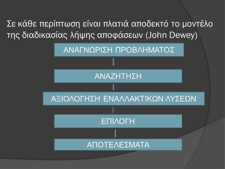 Σε κάθε περίπτωση είναι πλατιά αποδεκτό το μοντέλο της διαδικασίας λήψης αποφάσεων (John Dewey) ΑΝΑΓΝΩΡΙΣΗ ΠΡΟΒΛΗΜΑΤΟΣ ΑΝΑΖΗΤΗΣΗ ΑΞΙΟΛΟΓΗΣΗ ΕΝΑΛΛΑΚΤΙΚΩΝ ΛΥΣΕΩΝ ΕΠΙΛΟΓΗ ΑΠΟΤΕΛΕΣΜΑΤΑ