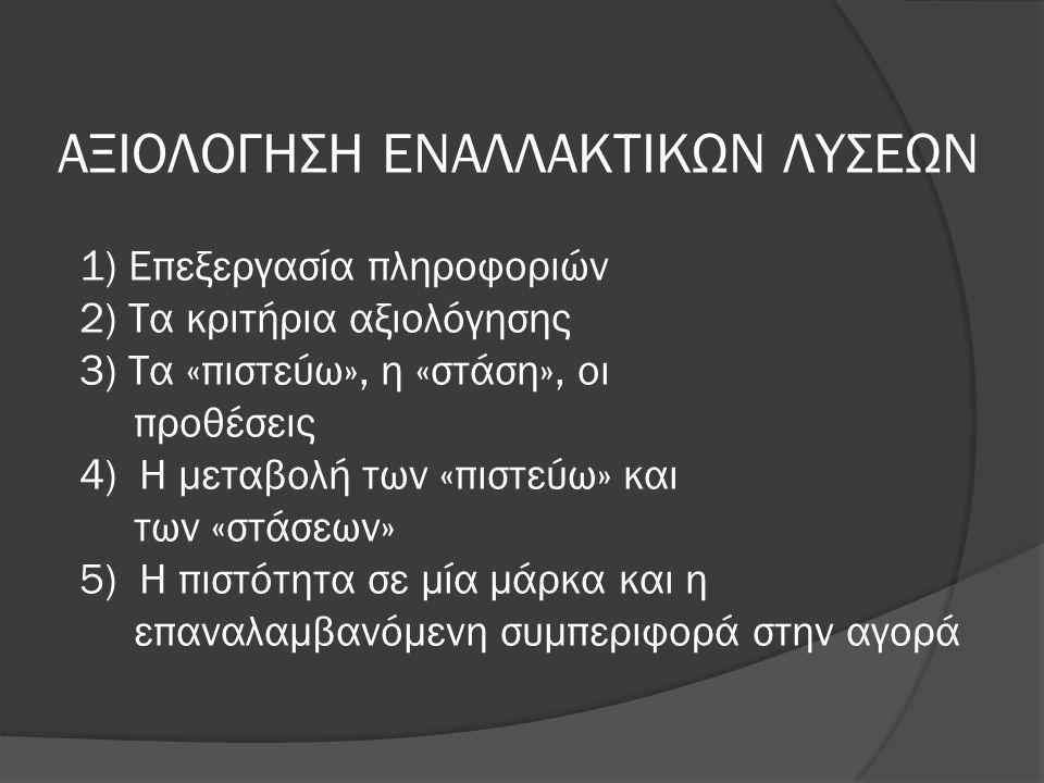 ΑΞΙΟΛΟΓΗΣΗ ΕΝΑΛΛΑΚΤΙΚΩΝ ΛΥΣΕΩΝ 1) Επεξεργασία πληροφοριών 2) Τα κριτήρια αξιολόγησης 3) Τα «πιστεύω», η «στάση», οι προθέσεις 4) Η μεταβολή των «πιστεύω» και των «στάσεων» 5) Η πιστότητα σε μία μάρκα και η επαναλαμβανόμενη συμπεριφορά στην αγορά