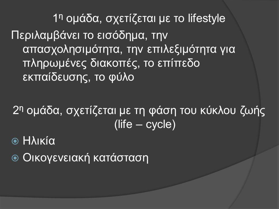 1 η ομάδα, σχετίζεται με το lifestyle Περιλαμβάνει το εισόδημα, την απασχολησιμότητα, την επιλεξιμότητα για πληρωμένες διακοπές, το επίπεδο εκπαίδευσης, το φύλο 2 η ομάδα, σχετίζεται με τη φάση του κύκλου ζωής (life – cycle)  Ηλικία  Οικογενειακή κατάσταση