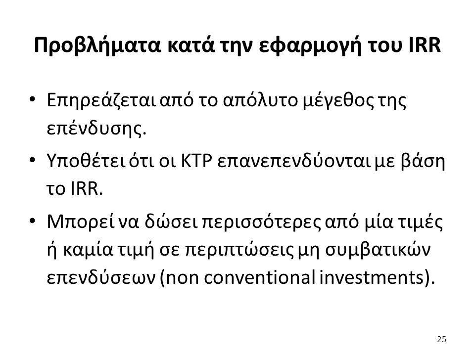 Προβλήματα κατά την εφαρμογή του IRR Επηρεάζεται από το απόλυτο μέγεθος της επένδυσης.
