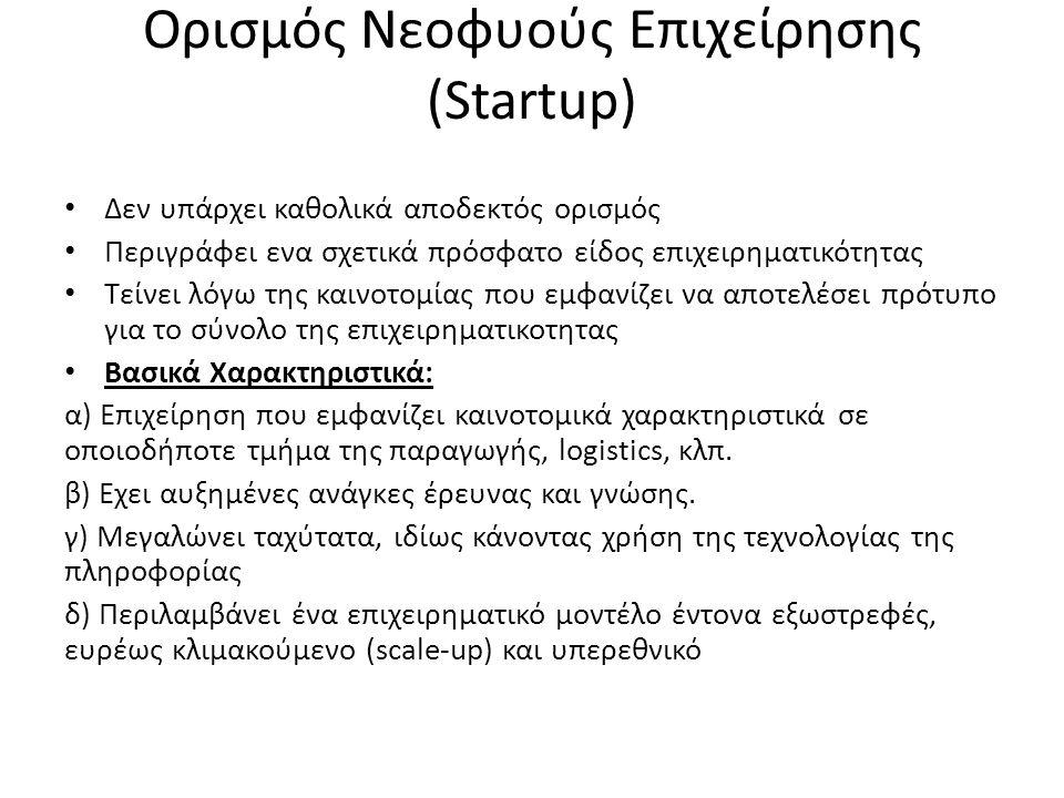 Ορισμός Νεοφυούς Επιχείρησης (Startup) Δεν υπάρχει καθολικά αποδεκτός ορισμός Περιγράφει ενα σχετικά πρόσφατο είδος επιχειρηματικότητας Τείνει λόγω της καινοτομίας που εμφανίζει να αποτελέσει πρότυπο για το σύνολο της επιχειρηματικοτητας Βασικά Χαρακτηριστικά: α) Επιχείρηση που εμφανίζει καινοτομικά χαρακτηριστικά σε οποιοδήποτε τμήμα της παραγωγής, logistics, κλπ.