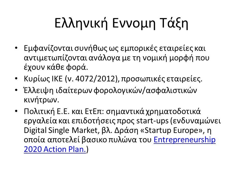 Ελληνική Εννομη Τάξη Εμφανίζονται συνήθως ως εμπορικές εταιρείες και αντιμετωπίζονται ανάλογα με τη νομική μορφή που έχουν κάθε φορά.