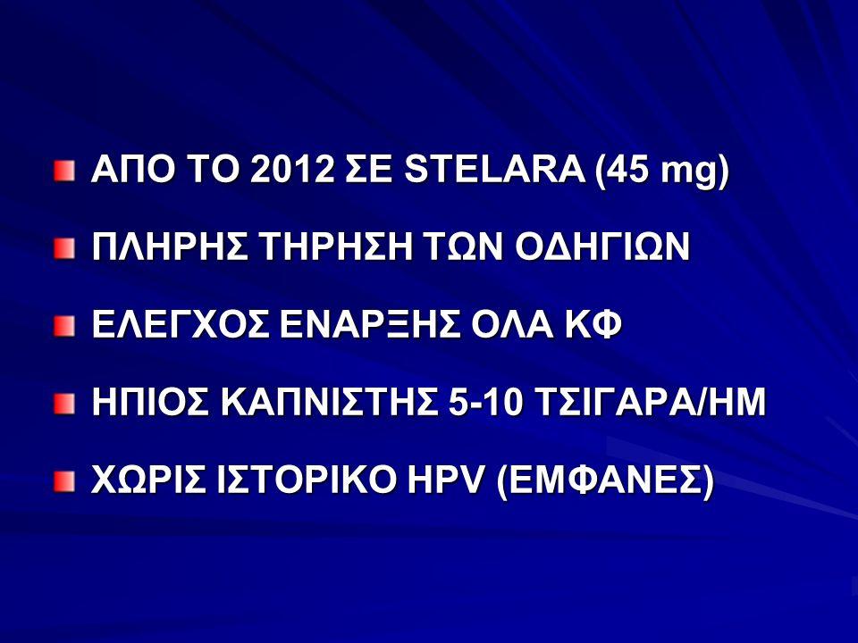 ΑΠΟ ΤΟ 2012 ΣΕ STELARA (45 mg) ΠΛΗΡΗΣ ΤΗΡΗΣΗ ΤΩΝ ΟΔΗΓΙΩΝ ΕΛΕΓΧΟΣ ΕΝΑΡΞΗΣ ΟΛΑ ΚΦ ΗΠΙΟΣ ΚΑΠΝΙΣΤΗΣ 5-10 ΤΣΙΓΑΡΑ/ΗΜ ΧΩΡΙΣ ΙΣΤΟΡΙΚΟ HPV (ΕΜΦΑΝΕΣ)