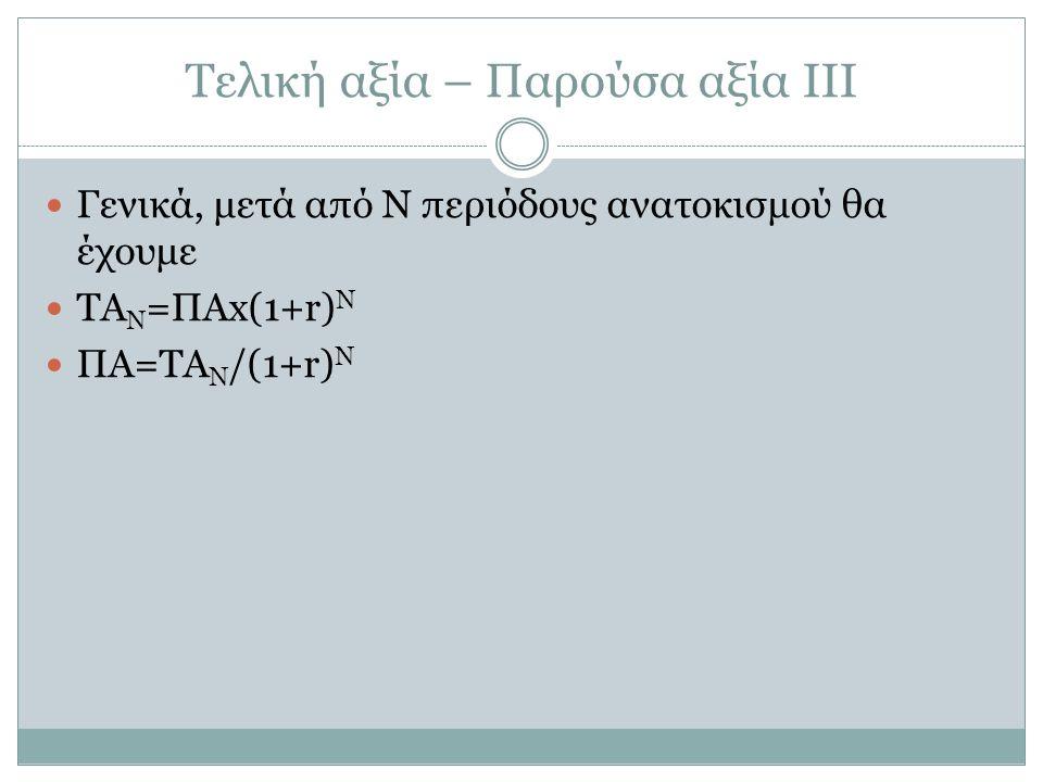 Τελική αξία – Παρούσα αξία ΙΙΙ Γενικά, μετά από Ν περιόδους ανατοκισμού θα έχουμε ΤΑ Ν =ΠΑx(1+r) N ΠΑ=ΤΑ Ν /(1+r) N