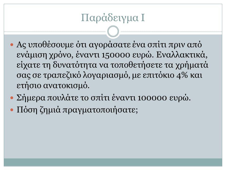 Παράδειγμα Ι Ας υποθέσουμε ότι αγοράσατε ένα σπίτι πριν από ενάμιση χρόνο, έναντι 150000 ευρώ.