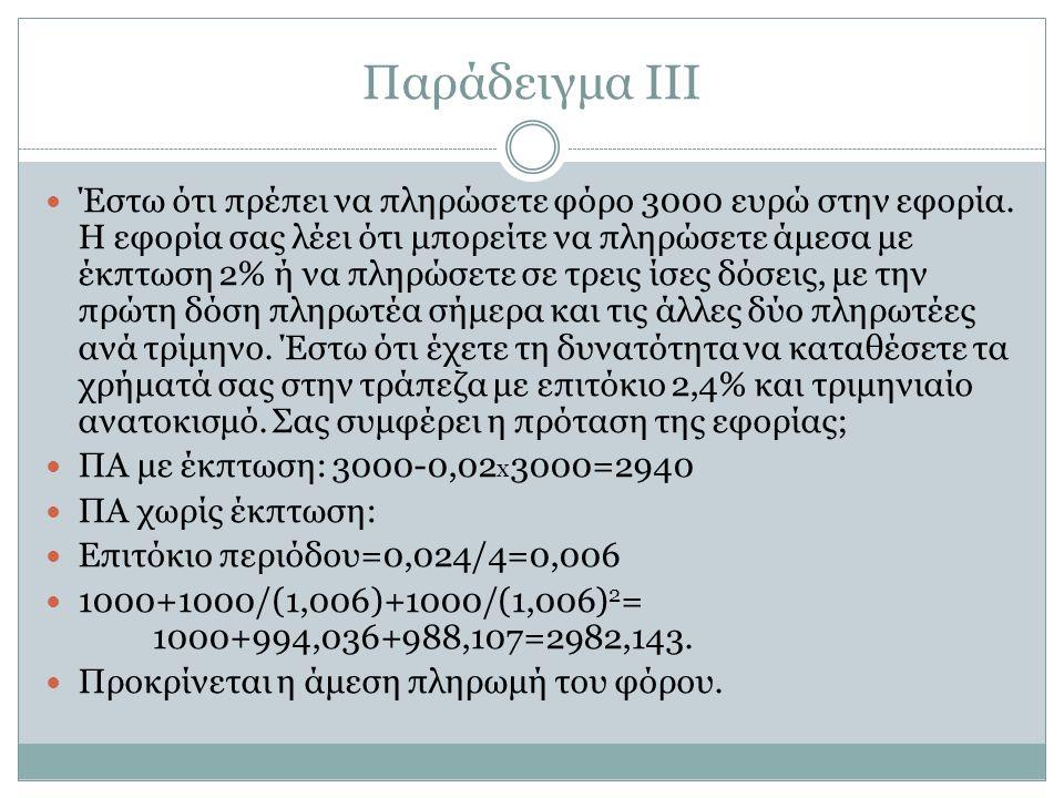 Παράδειγμα ΙΙΙ Έστω ότι πρέπει να πληρώσετε φόρο 3000 ευρώ στην εφορία.