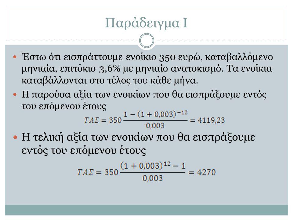 Παράδειγμα I Έστω ότι εισπράττουμε ενοίκιο 350 ευρώ, καταβαλλόμενο μηνιαία, επιτόκιο 3,6% με μηνιαίο ανατοκισμό.