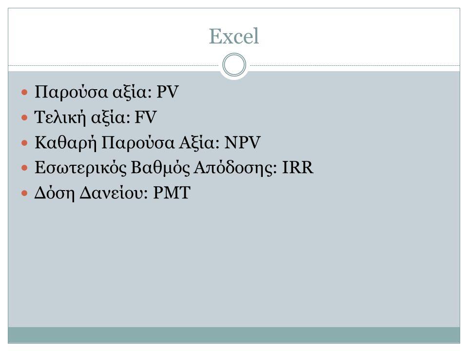 Excel Παρούσα αξία: PV Τελική αξία: FV Καθαρή Παρούσα Αξία: NPV Εσωτερικός Βαθμός Απόδοσης: IRR Δόση Δανείου: PMT