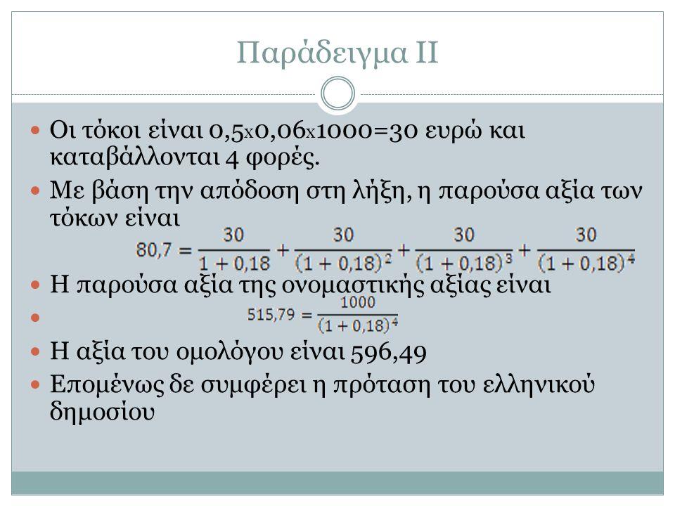 Παράδειγμα ΙΙ Οι τόκοι είναι 0,5 x 0,06 x 1000=30 ευρώ και καταβάλλονται 4 φορές.