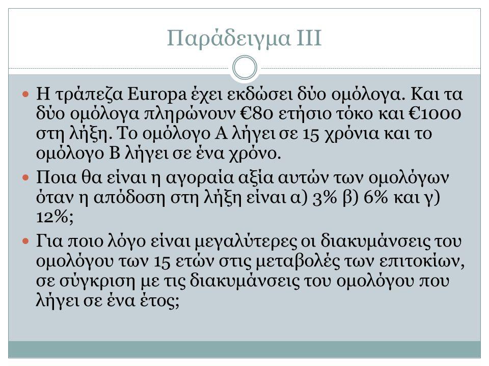 Παράδειγμα ΙΙΙ Η τράπεζα Europa έχει εκδώσει δύο ομόλογα.