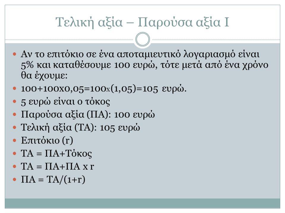 Τελική αξία – Παρούσα αξία Ι Αν το επιτόκιο σε ένα αποταμιευτικό λογαριασμό είναι 5% και καταθέσουμε 100 ευρώ, τότε μετά από ένα χρόνο θα έχουμε: 100+100x0,05=100 x (1,05)=105 ευρώ.