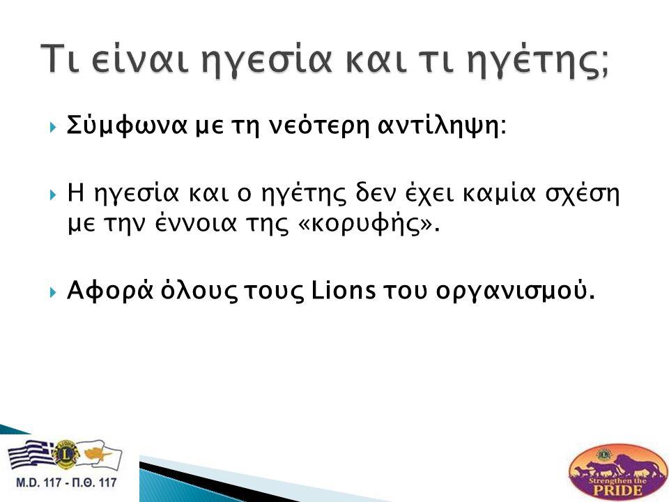  Σύμφωνα με τη νεότερη αντίληψη:  Η ηγεσία και ο ηγέτης δεν έχει καμία σχέση με την έννοια της «κορυφής».