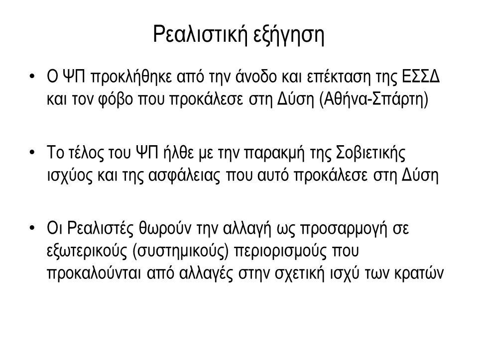 Ρεαλιστική εξήγηση Ο ΨΠ προκλήθηκε από την άνοδο και επέκταση της ΕΣΣΔ και τον φόβο που προκάλεσε στη Δύση (Αθήνα-Σπάρτη) Το τέλος του ΨΠ ήλθε με την παρακμή της Σοβιετικής ισχύος και της ασφάλειας που αυτό προκάλεσε στη Δύση Οι Ρεαλιστές θωρούν την αλλαγή ως προσαρμογή σε εξωτερικούς (συστημικούς) περιορισμούς που προκαλούνται από αλλαγές στην σχετική ισχύ των κρατών