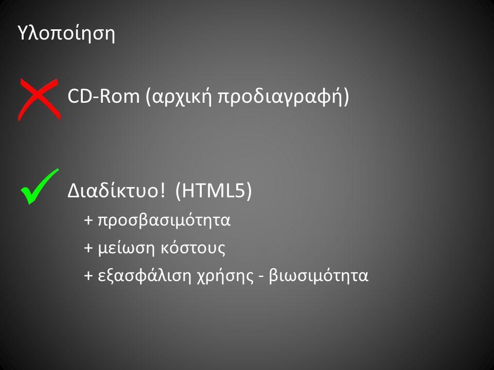 Υλοποίηση CD-Rom (αρχική προδιαγραφή) Διαδίκτυο.