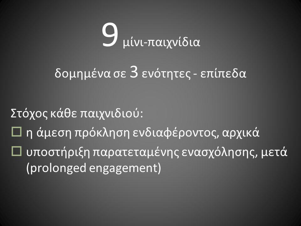 9 μίνι-παιχνίδια δομημένα σε 3 ενότητες - επίπεδα Στόχος κάθε παιχνιδιού:  η άμεση πρόκληση ενδιαφέροντος, αρχικά  υποστήριξη παρατεταμένης ενασχόλησης, μετά (prolonged engagement)