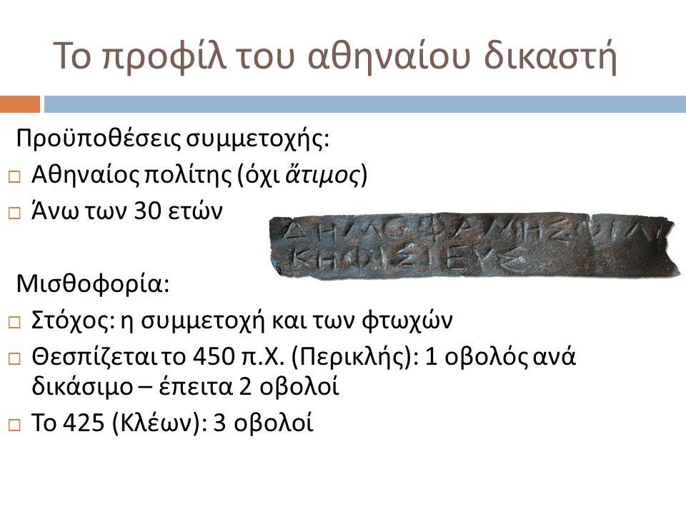 Το προφίλ του αθηναίου δικαστή Προϋποθέσεις συμμετοχής :  Αθηναίος πολίτης ( όχι ἄτιμος )  Άνω των 30 ετών Μισθοφορία :  Στόχος : η συμμετοχή και των φτωχών  Θεσπίζεται το 450 π.