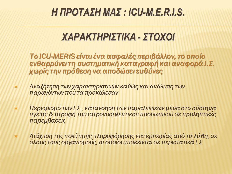 Η ΠΡΟΤΑΣΗ ΜΑΣ : ICU-M.E.R.I.S. ΧΑΡΑΚΤΗΡΙΣΤΙΚΑ - ΣΤΟΧΟΙ Το ICU-MERIS είναι ένα ασφαλές περιβάλλον, το οποίο ενθαρρύνει τη συστηματική καταγραφή και ανα