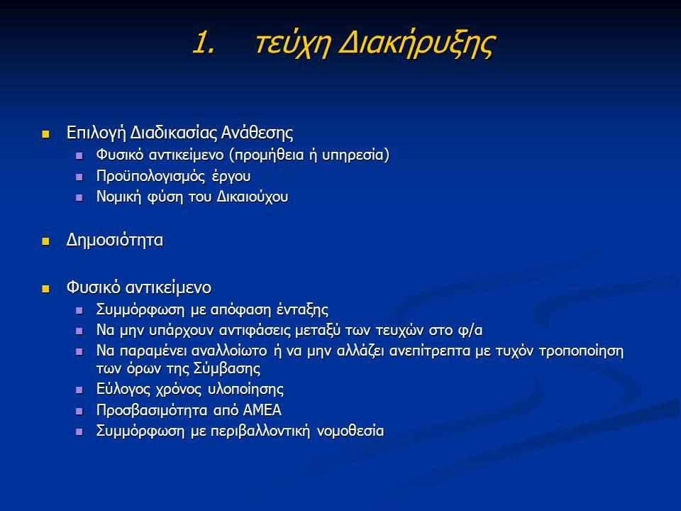 1.τεύχη Διακήρυξης Επιλογή Διαδικασίας Ανάθεσης Επιλογή Διαδικασίας Ανάθεσης Φυσικό αντικείμενο (προμήθεια ή υπηρεσία) Φυσικό αντικείμενο (προμήθεια ή υπηρεσία) Προϋπολογισμός έργου Προϋπολογισμός έργου Νομική φύση του Δικαιούχου Νομική φύση του Δικαιούχου Δημοσιότητα Δημοσιότητα Φυσικό αντικείμενο Φυσικό αντικείμενο Συμμόρφωση με απόφαση ένταξης Συμμόρφωση με απόφαση ένταξης Να μην υπάρχουν αντιφάσεις μεταξύ των τευχών στο φ/α Να μην υπάρχουν αντιφάσεις μεταξύ των τευχών στο φ/α Να παραμένει αναλλοίωτο ή να μην αλλάζει ανεπίτρεπτα με τυχόν τροποποίηση των όρων της Σύμβασης Να παραμένει αναλλοίωτο ή να μην αλλάζει ανεπίτρεπτα με τυχόν τροποποίηση των όρων της Σύμβασης Εύλογος χρόνος υλοποίησης Εύλογος χρόνος υλοποίησης Προσβασιμότητα από ΑΜΕΑ Προσβασιμότητα από ΑΜΕΑ Συμμόρφωση με περιβαλλοντική νομοθεσία Συμμόρφωση με περιβαλλοντική νομοθεσία
