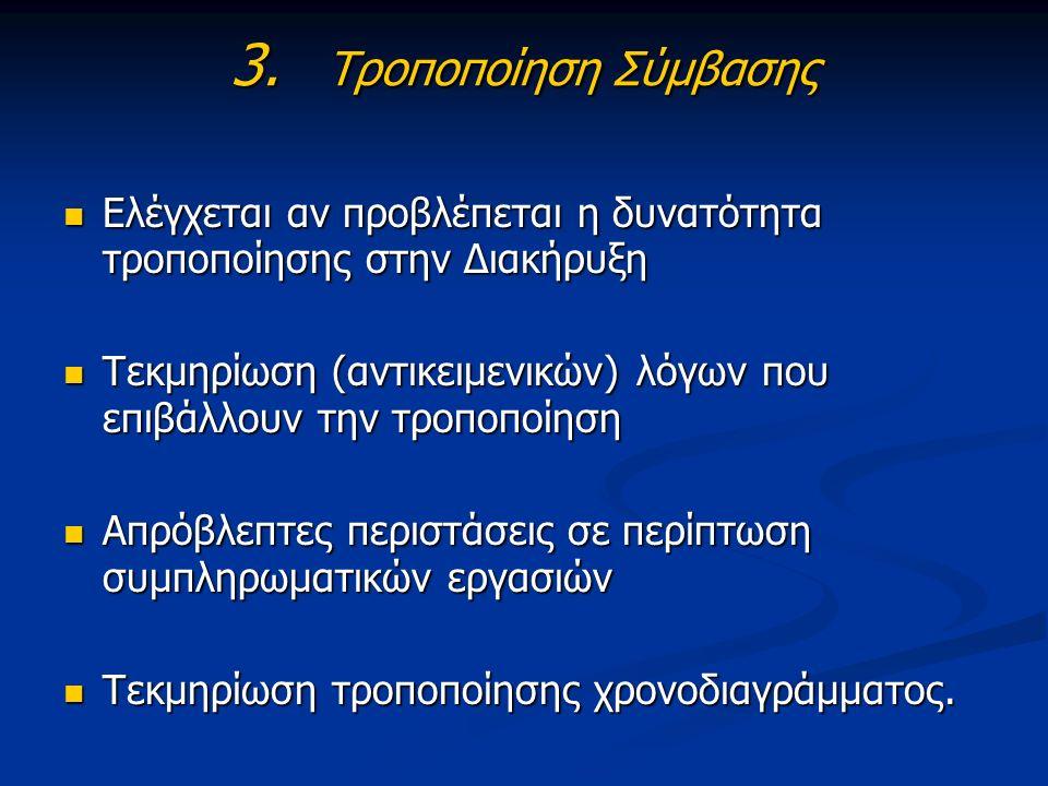 3. Τροποποίηση Σύμβασης Ελέγχεται αν προβλέπεται η δυνατότητα τροποποίησης στην Διακήρυξη Ελέγχεται αν προβλέπεται η δυνατότητα τροποποίησης στην Διακ