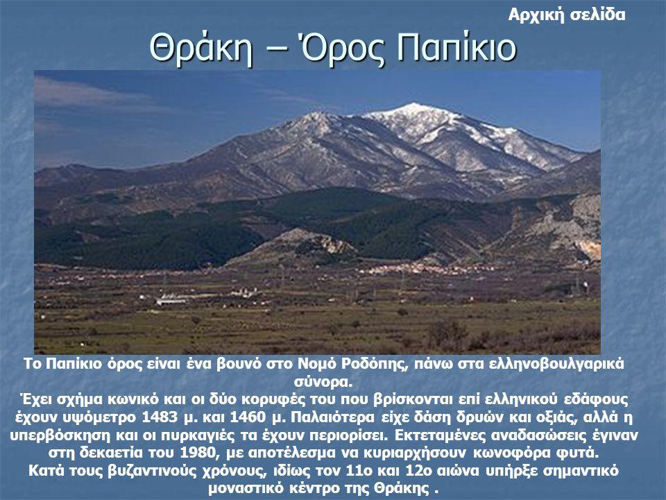 Θράκη – Όρος Παπίκιο Το Παπίκιο όρος είναι ένα βουνό στο Νομό Ροδόπης, πάνω στα ελληνοβουλγαρικά σύνορα. Έχει σχήμα κωνικό και οι δύο κορυφές του που