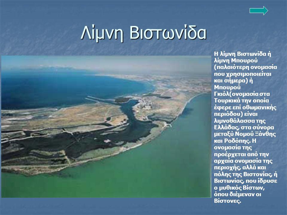 Λίμνη Βιστωνίδα Η λίμνη Βιστωνίδα ή λίμνη Μπουρού (παλαιότερη ονομασία που χρησιμοποιείται και σήμερα) ή Μπουρού Γκιόλ(ονομασία στα Τουρκικά την οποία έφερε επί οθωμανικής περιόδου) είναι λιμνοθάλασσα της Ελλάδας, στα σύνορα μεταξύ Νομού Ξάνθης και Ροδόπης.