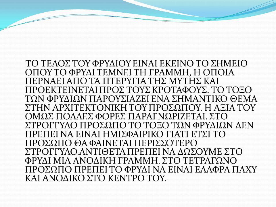 ΤΟ ΤΕΛΟΣ ΤΟΥ ΦΡΥΔΙΟΥ ΕΙΝΑΙ ΕΚΕΙΝΟ ΤΟ ΣΗΜΕΙΟ ΟΠΟΥ ΤΟ ΦΡΥΔΙ ΤΕΜΝΕΙ ΤΗ ΓΡΑΜΜΗ, Η ΟΠΟΙΑ ΠΕΡΝΑΕΙ ΑΠΟ ΤΑ ΠΤΕΡΥΓΙΑ ΤΗΣ ΜΥΤΗΣ ΚΑΙ ΠΡΟΕΚΤΕΙΝΕΤΑΙ ΠΡΟΣ ΤΟΥΣ ΚΡΟΤΑΦΟΥΣ.