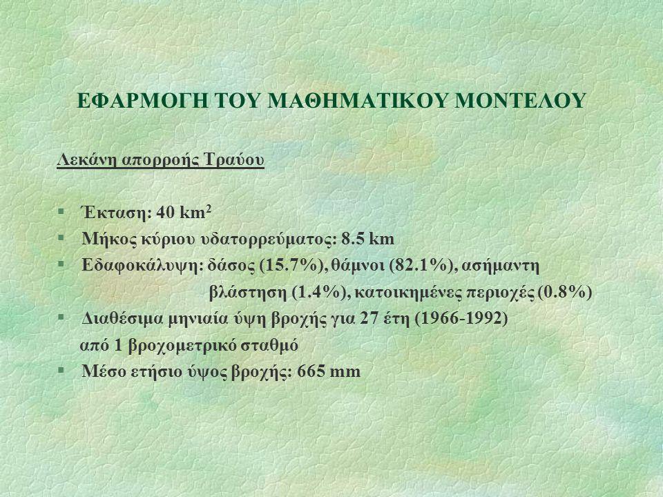 ΑΡΙΘΜΗΤΙΚΑ ΑΠΟΤΕΛΕΣΜΑΤΑ YA: μέση ετήσια τιμή του στερεοφορτίου στην έξοδο μιας λεκάνης απορροής Λεκάνη απορροής Κομψάτου: YA=447 000 t Λεκάνη απορροής Κόσυνθου: YA=192 000 t Λεκάνη απορροής Τραύου: YA=28 000 t Συνολικό μέσο ετήσιο στερεοφορτίο που εισρέει στη Βιστωνίδα: 667 000 t Μέσος ετήσιος όγκος φερτών υλών στη Βιστωνίδα: 360 000 m 3