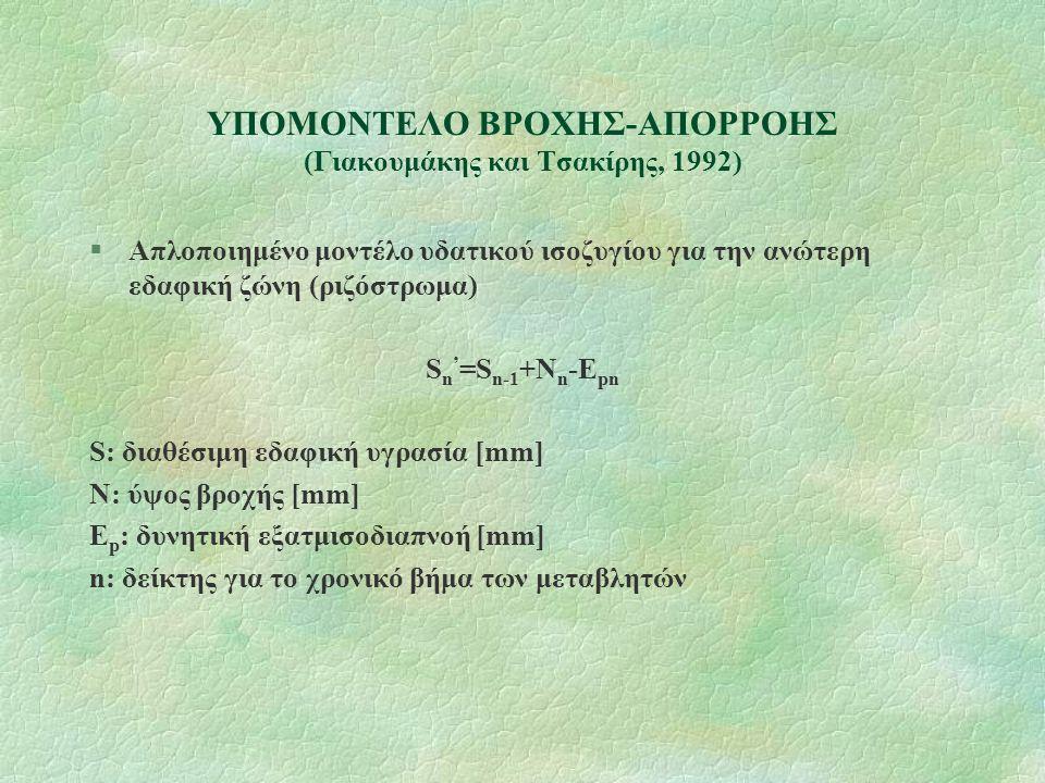 ΥΠΟΜΟΝΤΕΛΟ ΒΡΟΧΗΣ-ΑΠΟΡΡΟΗΣ (Γιακουμάκης και Τσακίρης, 1992) §Απλοποιημένο μοντέλο υδατικού ισοζυγίου για την ανώτερη εδαφική ζώνη (ριζόστρωμα) S n ' =S n-1 +N n -E pn S: διαθέσιμη εδαφική υγρασία [mm] N: ύψος βροχής [mm] E p : δυνητική εξατμισοδιαπνοή [mm] n: δείκτης για το χρονικό βήμα των μεταβλητών