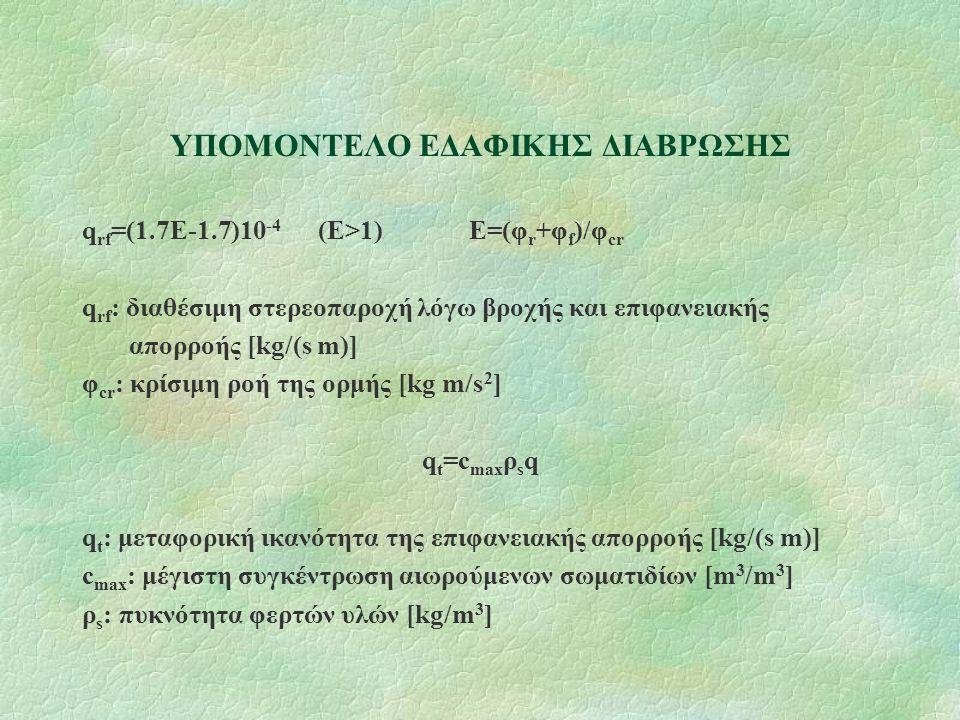 ΥΠΟΜΟΝΤΕΛΟ ΕΔΑΦΙΚΗΣ ΔΙΑΒΡΩΣΗΣ q rf =(1.7E-1.7)10 -4 (E>1) E=(φ r +φ f )/φ cr q rf : διαθέσιμη στερεοπαροχή λόγω βροχής και επιφανειακής απορροής [kg/(s m)] φ cr : κρίσιμη ροή της ορμής [kg m/s 2 ] q t =c max ρ s q q t : μεταφορική ικανότητα της επιφανειακής απορροής [kg/(s m)] c max : μέγιστη συγκέντρωση αιωρούμενων σωματιδίων [m 3 /m 3 ] ρ s : πυκνότητα φερτών υλών [kg/m 3 ]