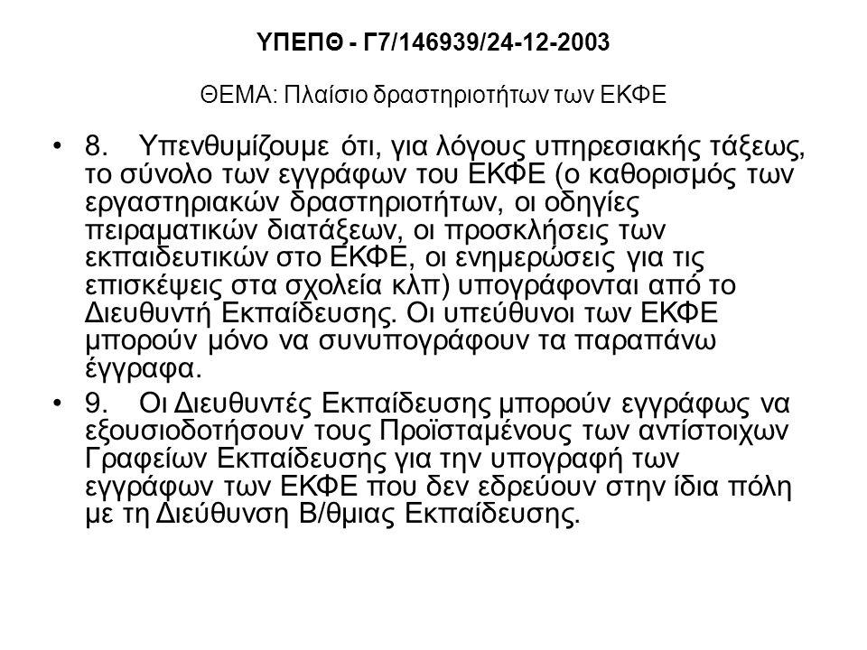 ΥΠΕΠΘ - Γ7/146939/24-12-2003 ΘΕΜΑ: Πλαίσιο δραστηριοτήτων των ΕΚΦΕ 8.Υπενθυμίζουμε ότι, για λόγους υπηρεσιακής τάξεως, το σύνολο των εγγράφων του ΕΚΦΕ (ο καθορισμός των εργαστηριακών δραστηριοτήτων, οι οδηγίες πειραματικών διατάξεων, οι προσκλήσεις των εκπαιδευτικών στο ΕΚΦΕ, οι ενημερώσεις για τις επισκέψεις στα σχολεία κλπ) υπογράφονται από το Διευθυντή Εκπαίδευσης.