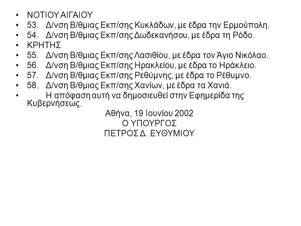 ΝΟΤΙΟΥ ΑΙΓΑΙΟΥ 53.Δ/νση Β/θμιας Εκπ/σης Κυκλάδων, με έδρα την Ερμούπολη.