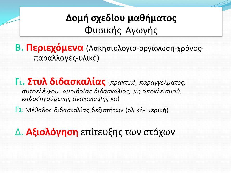 Β. Περιεχόμενα (Ασκησιολόγιο-οργάνωση-χρόνος- παραλλαγές-υλικό) Γ 1.