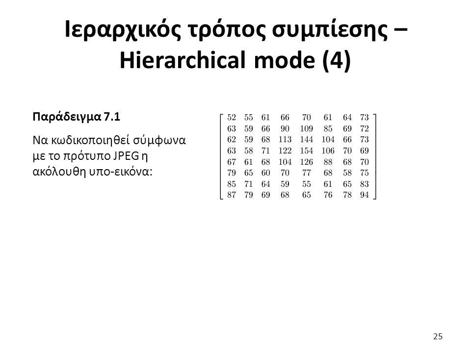 Παράδειγμα 7.1 Να κωδικοποιηθεί σύμφωνα με το πρότυπο JPEG η ακόλουθη υπο-εικόνα: Ιεραρχικός τρόπος συμπίεσης – Hierarchical mode (4) 25